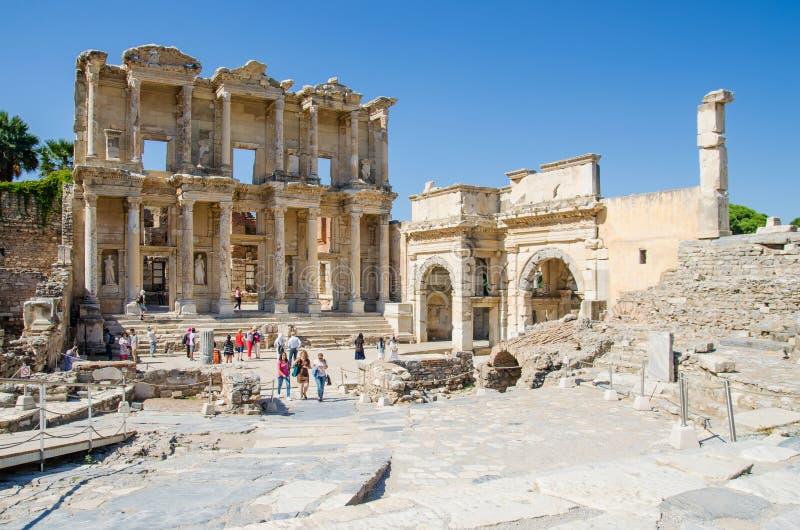 Fasada antyczna Celsius biblioteka w Ephesus, Turcja obrazy royalty free