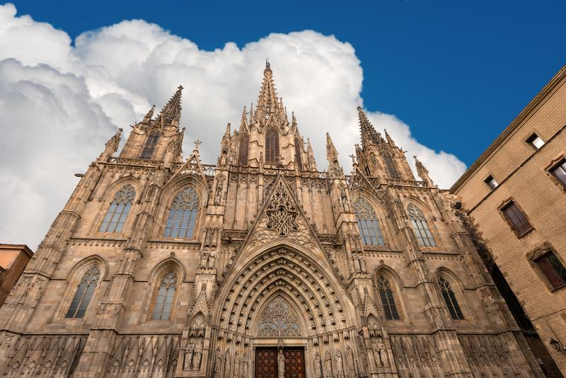 Fasada Barcelona katedra w gothic stylu - Hiszpania zdjęcia royalty free