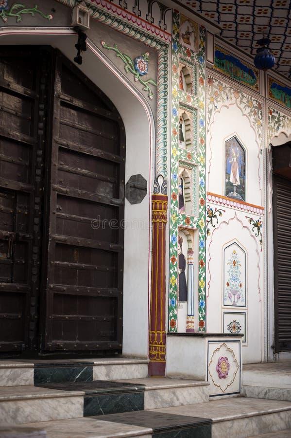 Fasada budynek, Pushkar, Ajmer, Rajasthan, India obrazy stock