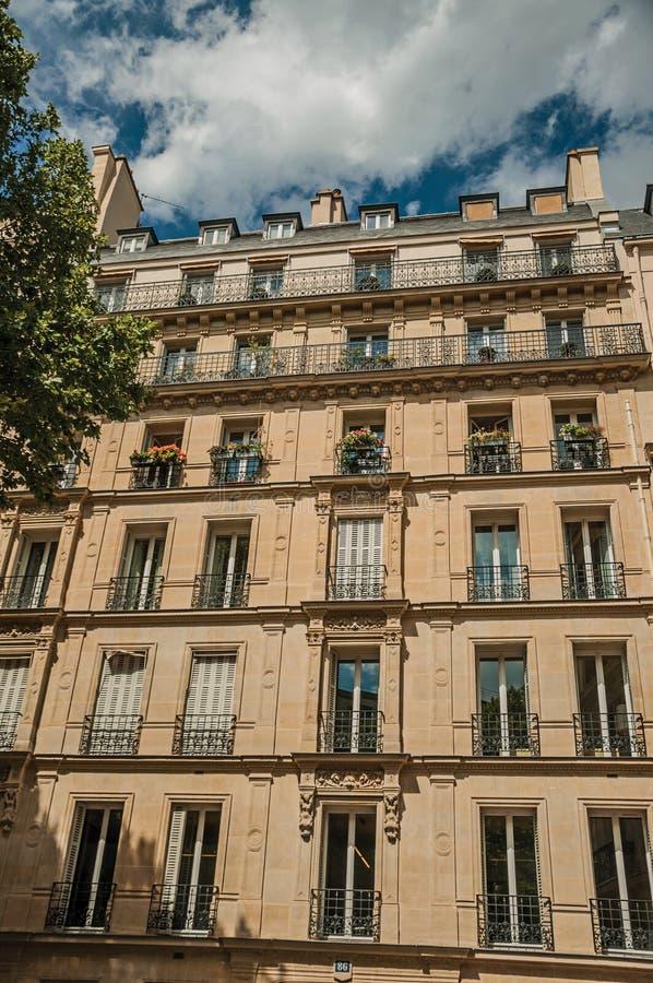 Fasada budynek z balkonem i obfitolistny drzewo w Paryż zdjęcie stock