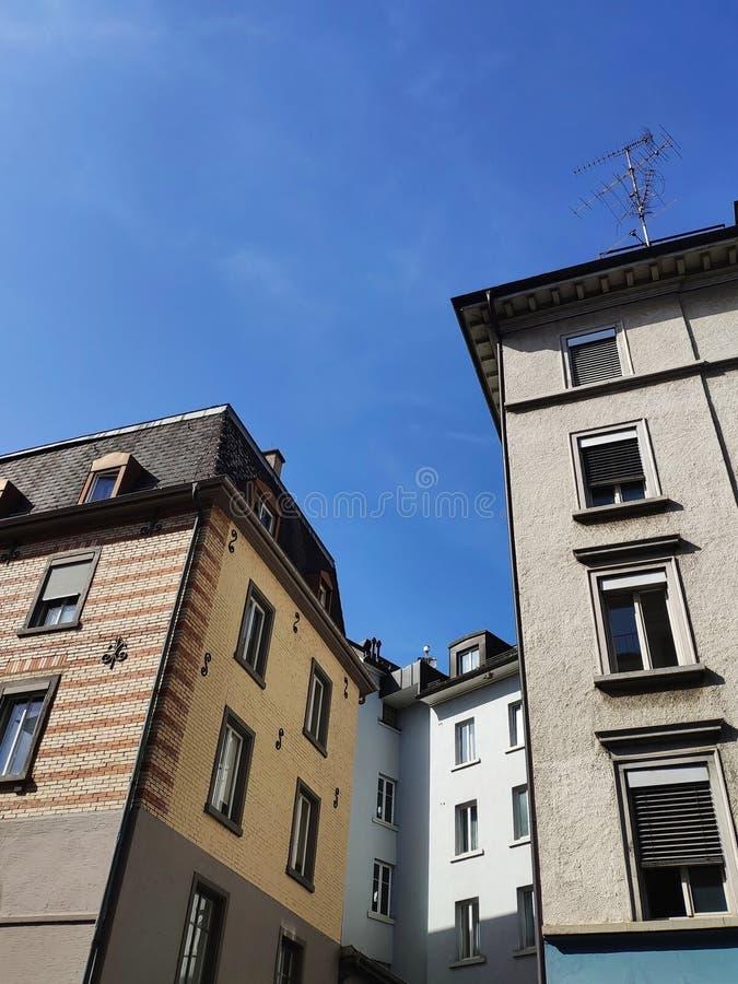 Fasada dom Zurich ulicy zdjęcie stock