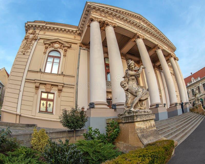 Fasada dziejowy budynek Krajowy teatr Oradea fotografia royalty free