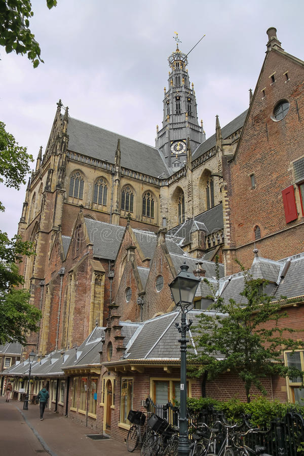 Fasada Grote Kerk w historycznym centrum (Sint-Bavokerk) zdjęcie royalty free