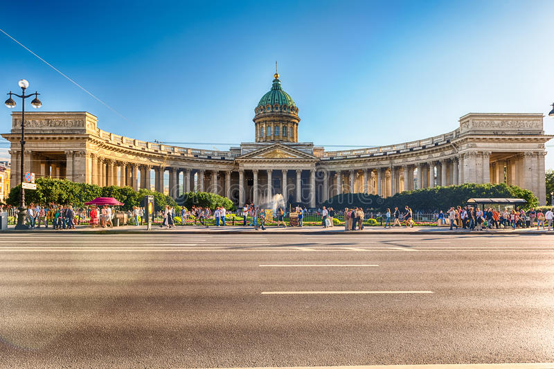 Fasada i kolumnada Kazan katedra w St Petersburg, Russi zdjęcia royalty free