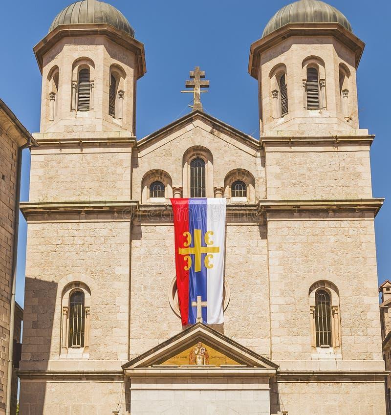 Fasada kościół St Nicholas na letnim dniu w starym miasteczku Kotor, Montenegro fotografia stock