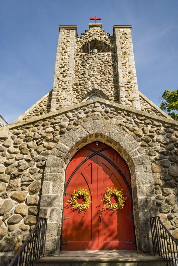 Fasada kościół w Nowa Anglia zdjęcia royalty free