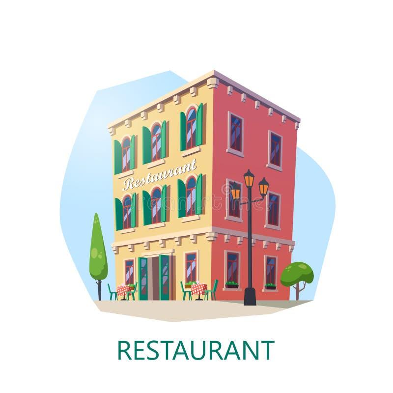 Fasada restauracja lub bufet, cukierniany budynek ilustracja wektor