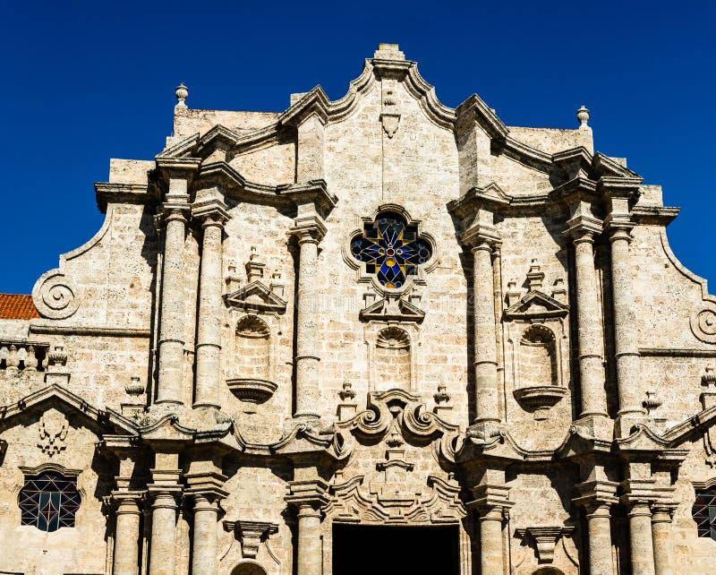 Fasada San Cristobal katedra Hawa?ska katedra Katedra kwadrat jest jeden g??wni place w Stary Hawa?skim, Kuba fotografia royalty free