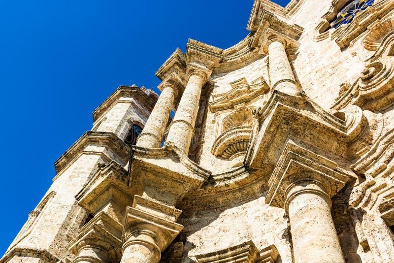 Fasada San Cristobal katedra Hawa?ska katedra Katedra kwadrat jest jeden g??wni place w Stary Hawa?skim, Kuba zdjęcie royalty free