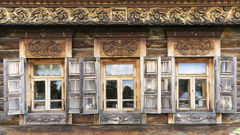 Fasada stary bela dom w muzeum drewniana architektura obrazy royalty free