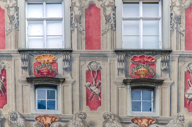 Fasada stary urząd miasta w Lindau, Niemcy zdjęcie royalty free