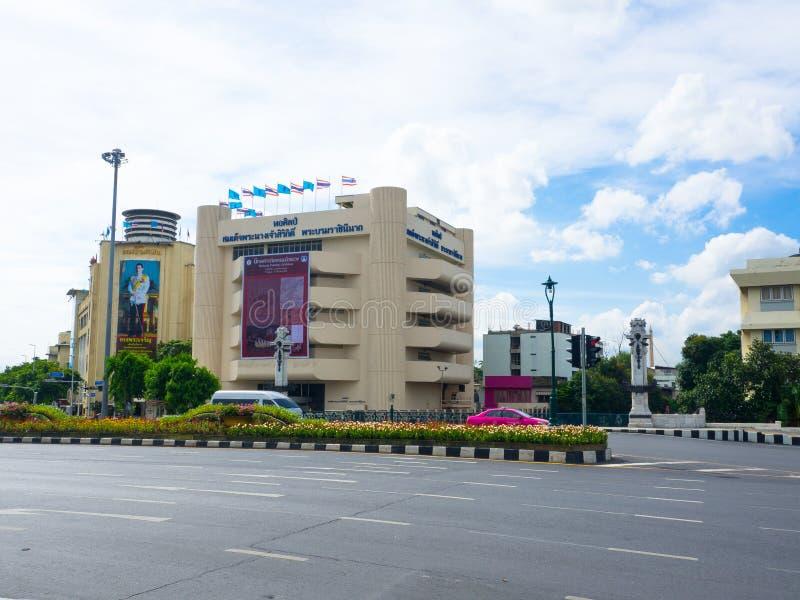 Fasadbyggnaden av gallerit för drottning` s är en konstmusem i Bangkok, offentlig utställning och främjar arbetena av thailändska royaltyfri fotografi