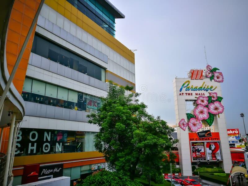 Fasadbyggnaden av mitten för ` för `-Tha galleria den shoping i det Bangkapi området arkivfoto