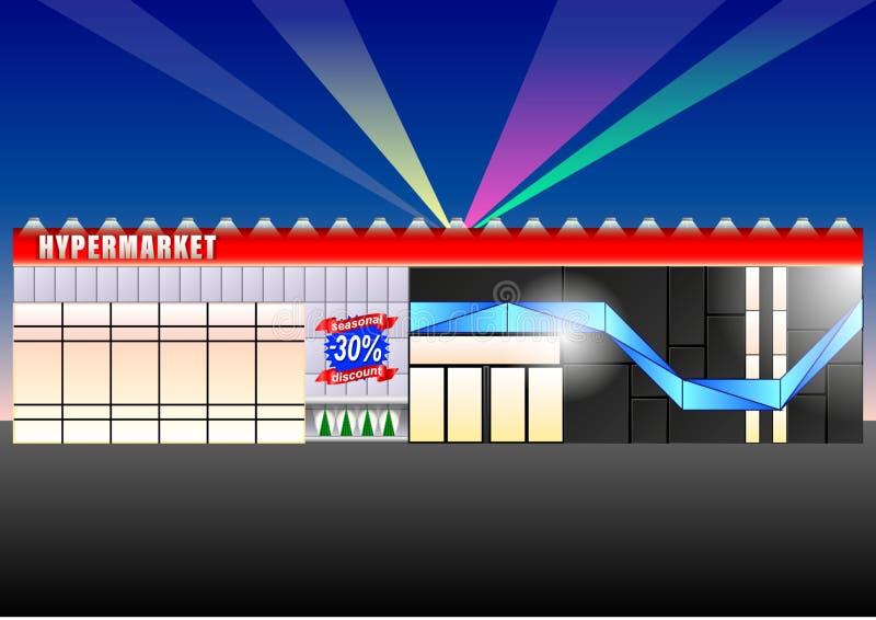 Fasaden av en modern stormarknad i aftonen som tänds med ljusa ljus royaltyfri illustrationer