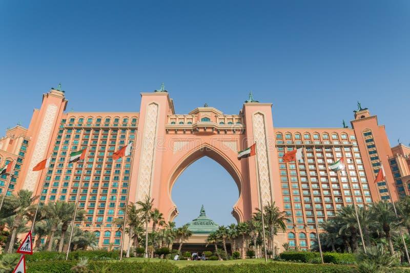 Fasaden av hotellet Atlantis, ett lyxigt hotell på Jumeirah gömma i handflatan i Dubai, UAE arkivbild