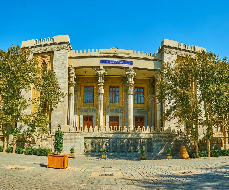Fasaden av Utrikesdepartementet, Bagh-e Melli, Teheran, Iran arkivfoton