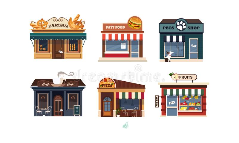 Fasader av olikt shoppar uppsättningen, bagerit, snabbmat, husdjur shoppar, pizza, fruktvektorillustration på en vit bakgrund royaltyfri illustrationer