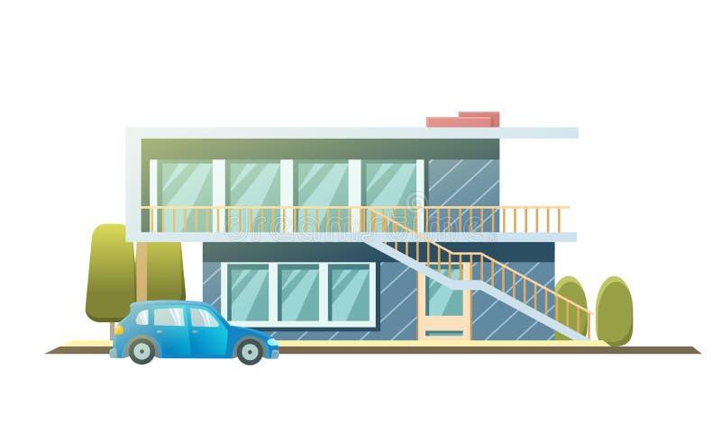 Fasadlägenhethus, stuga plan stilbakgrund av träd, bil Arkitekturstugabyggnad Förorts- hus med stock illustrationer