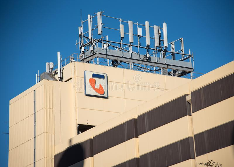 Fasadowy budynek Ograniczaj?cy Telstra Korporacja jest Australia telekomunikacji wielkim firm? fotografia royalty free