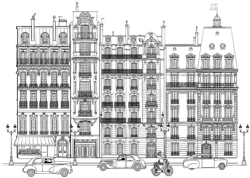 fasady Paris ilustracja wektor