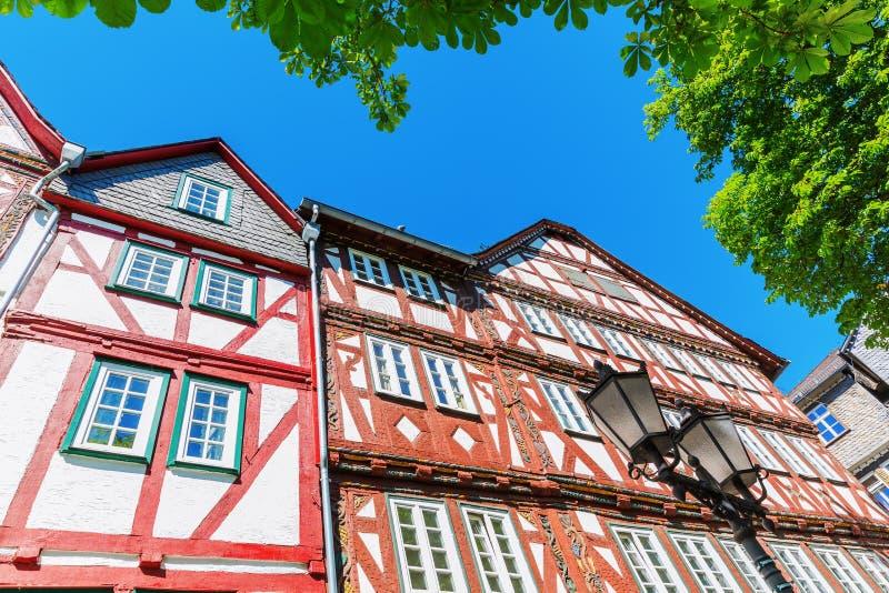 Fasady starzy budynki w Herborn, Niemcy zdjęcie royalty free
