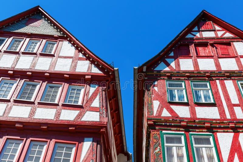Fasady starzy budynki w Herborn, Niemcy fotografia royalty free