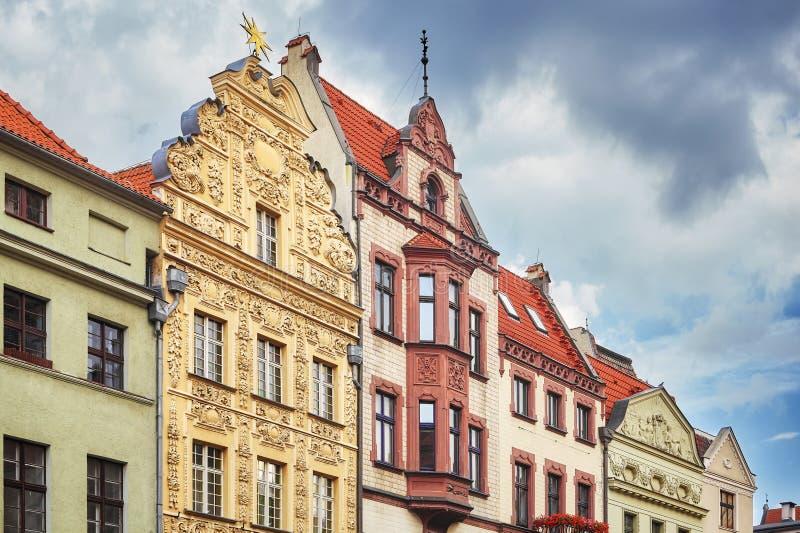 Fasady starzy domy w Toruńskim starym miasteczku, Polska zdjęcia royalty free