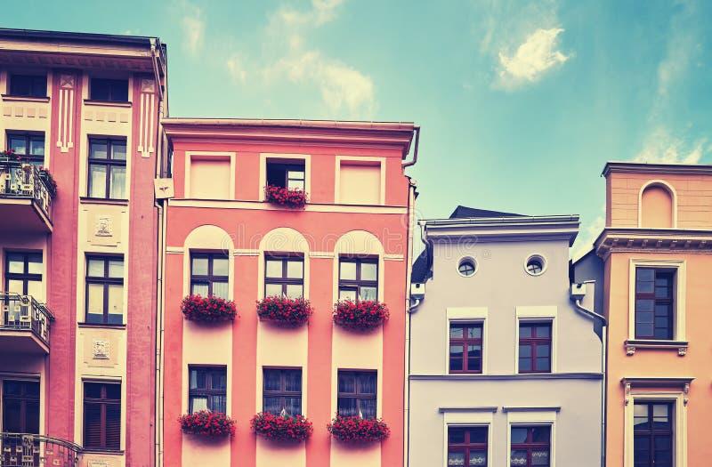 Fasady starzy tenement domy zdjęcie stock