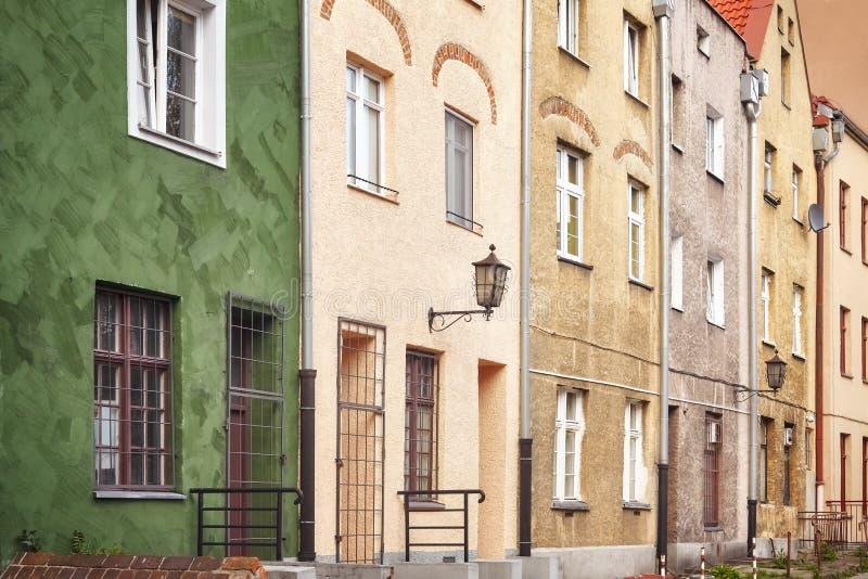 Fasady starzy tenement domy w Toruńskim starym miasteczku, Polska zdjęcia royalty free