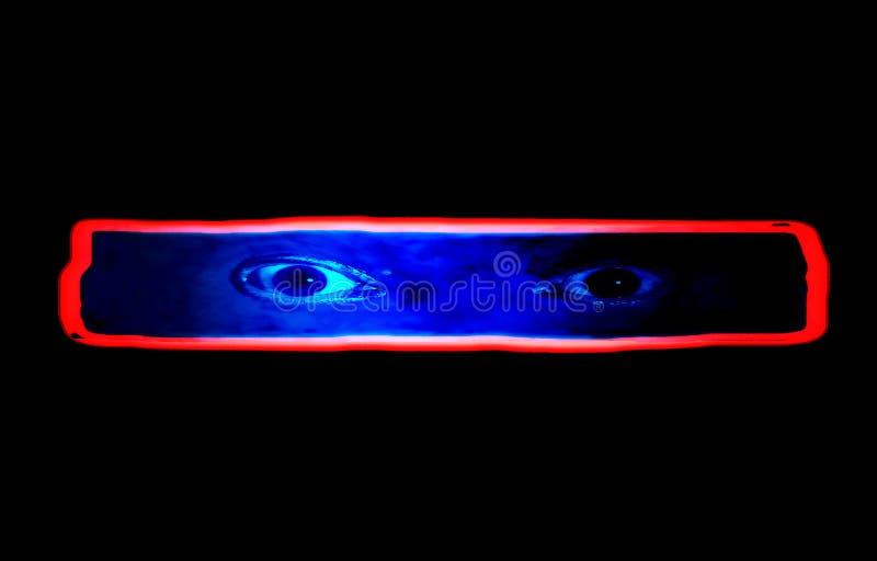 Fasafilmaffisch med ögon på en svart bakgrund arkivbild