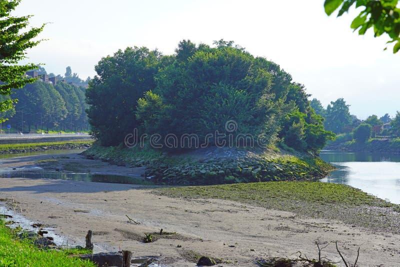 Fasan-Insel auf dem Bidasoa-Fluss zwischen Frankreich und Spanien lizenzfreies stockfoto