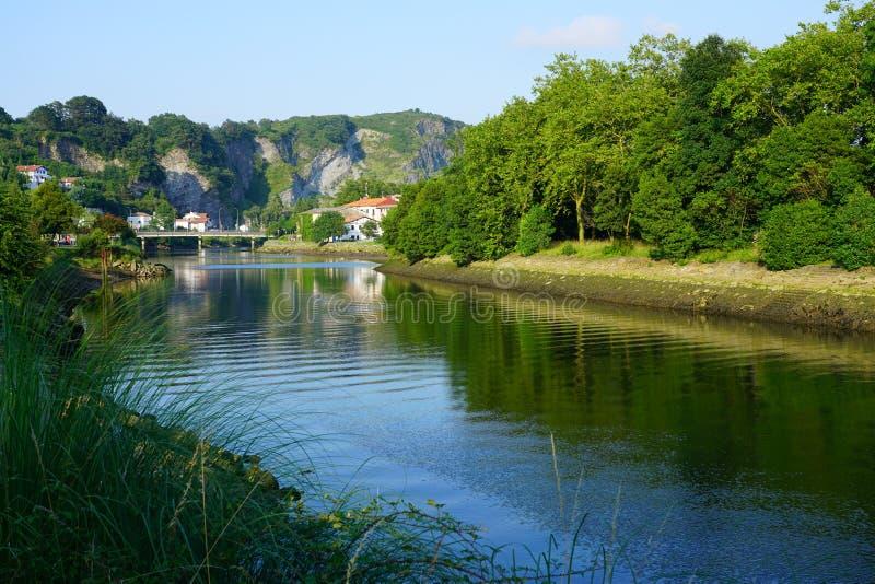 Fasan-Insel auf dem Bidasoa-Fluss zwischen Frankreich und Spanien lizenzfreie stockbilder