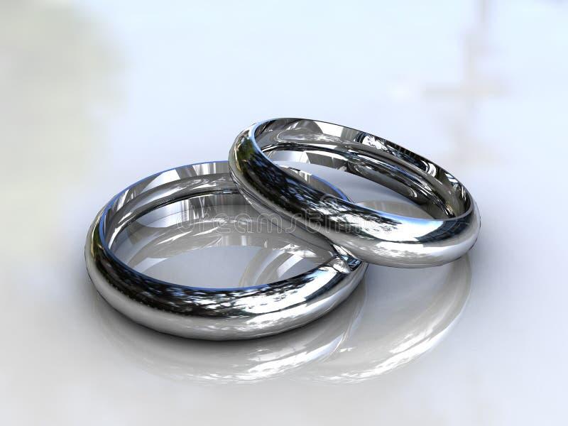 Fasce di cerimonia nuziale del platino - monili fini immagine stock