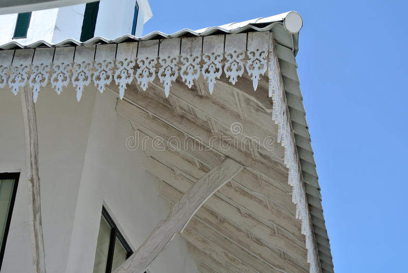 Fascia board detail at The Abidin Mosque in Kuala Terengganu, Malaysia. KUALA TERENGGANU, MALAYSIA – MARCH 27, 2014: The Abidin Mosque is Terengganu's old royalty free stock photo