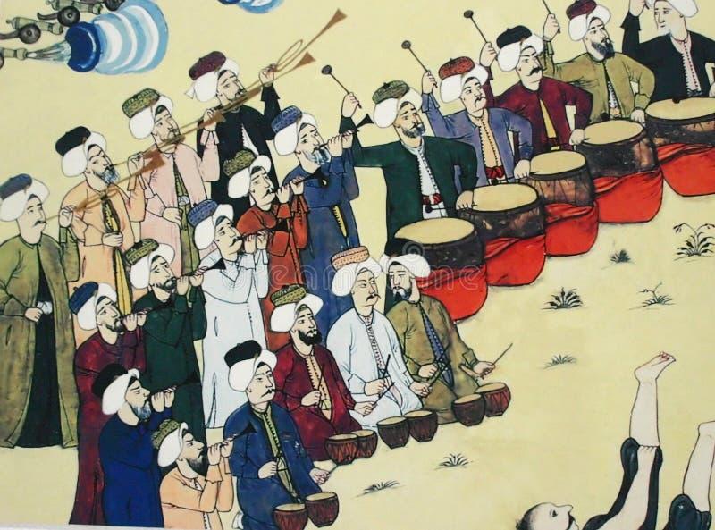 Fascia che effettua, pittura del Janissary dell'ottomano fotografia stock libera da diritti