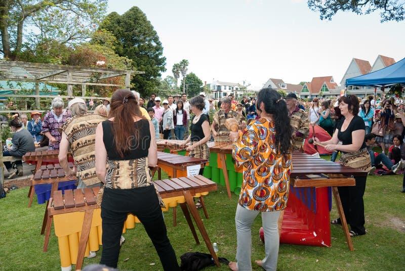 Fascia del Marimba che gioca sul festival di Parnell delle rose fotografia stock