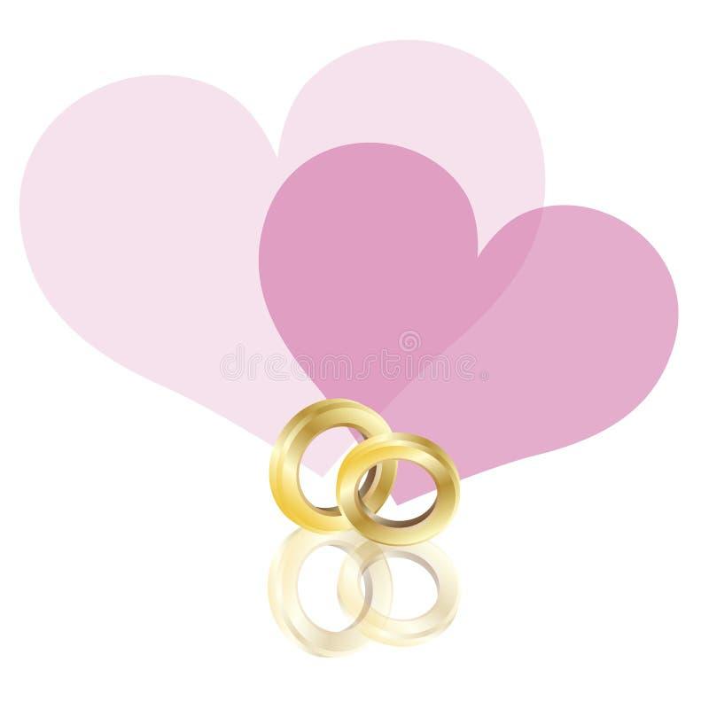 Fascia dell'oro degli anelli di cerimonia nuziale con l'illustrazione dei cuori royalty illustrazione gratis