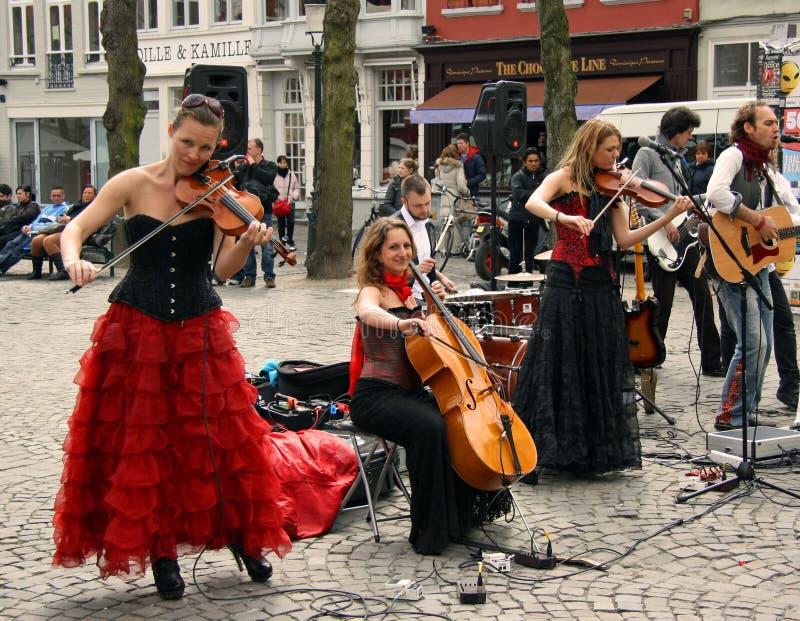 Fascia della via a Bruges (Belgio) fotografia stock