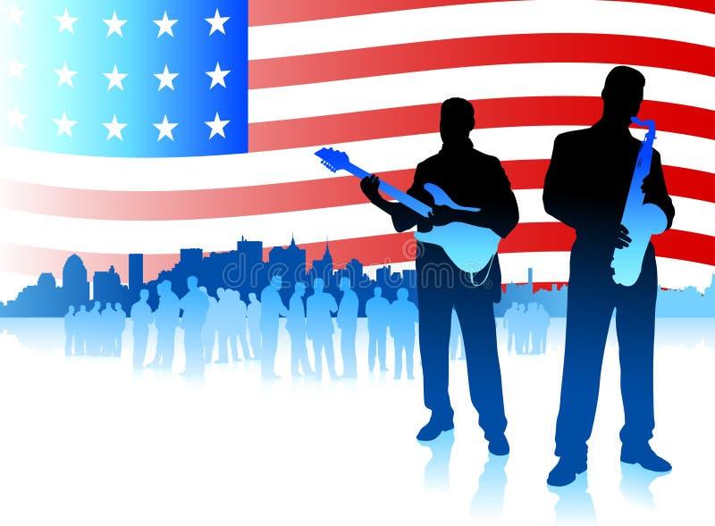 Fascia di musica sulla priorità bassa patriottica della bandiera americana illustrazione di stock