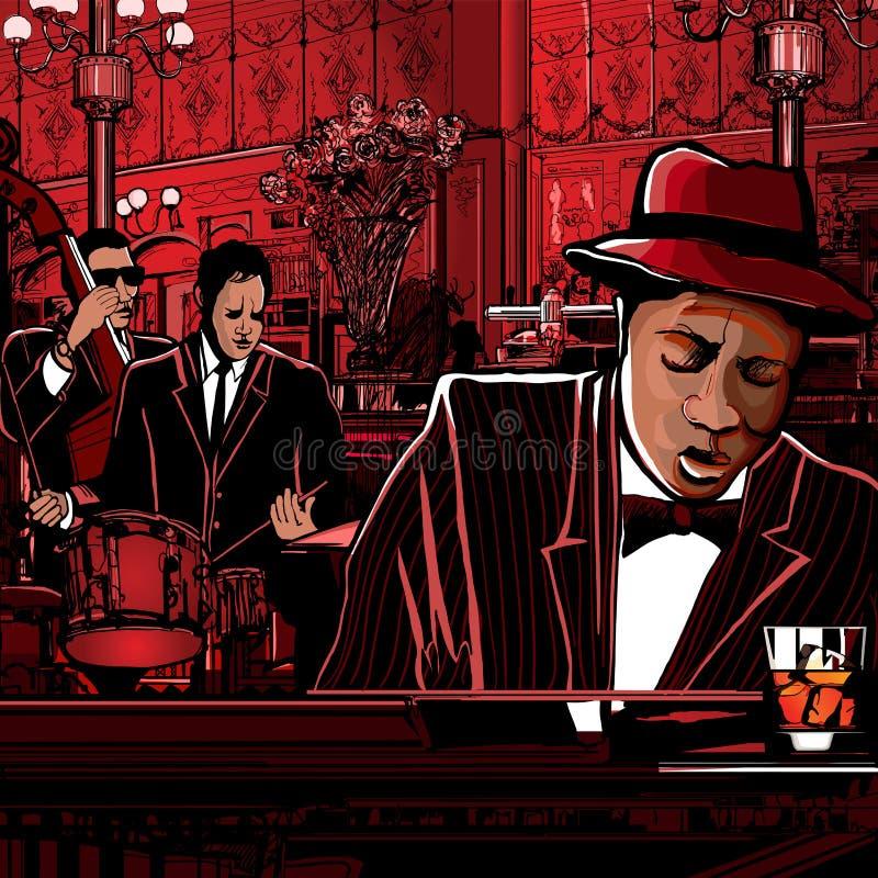 Fascia di Piano-Jazz in un ristorante illustrazione di stock