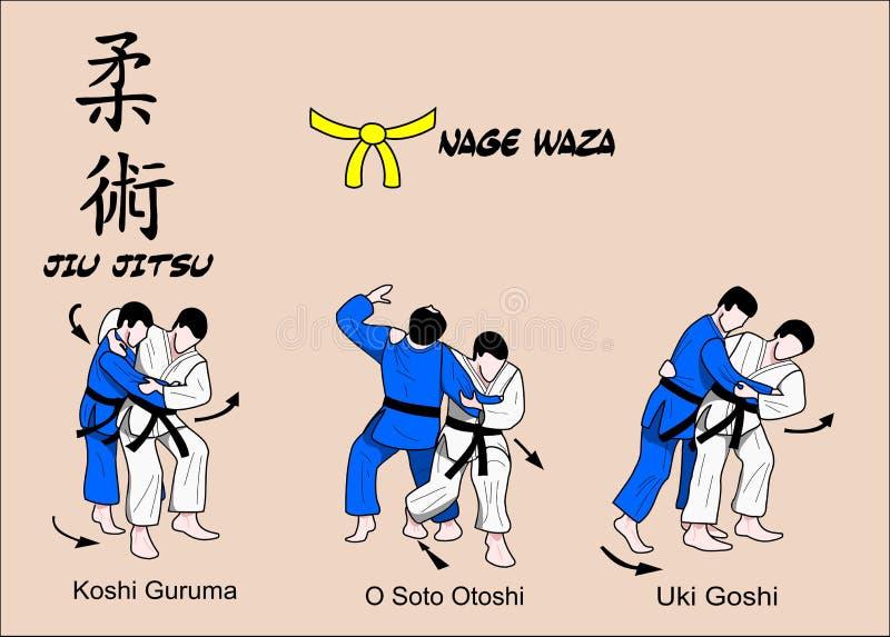 Fascia gialla di Jiu Jitsu illustrazione vettoriale
