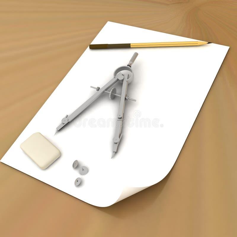 Fascia, matita e bussole illustrazione di stock