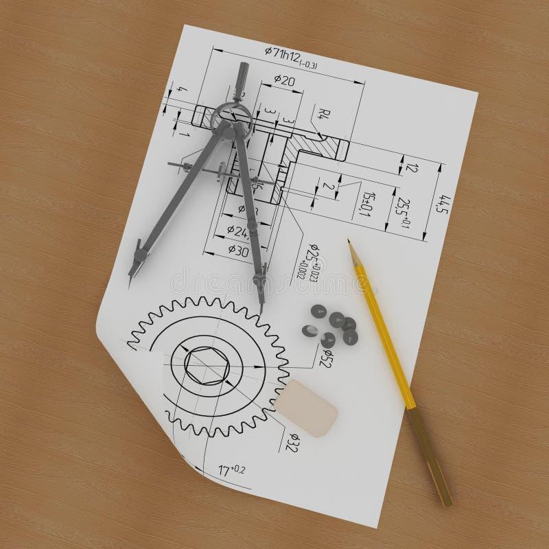 Fascia, matita e bussole royalty illustrazione gratis