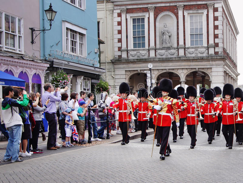 Fascia militare in marcia in Windsor reale immagini stock libere da diritti