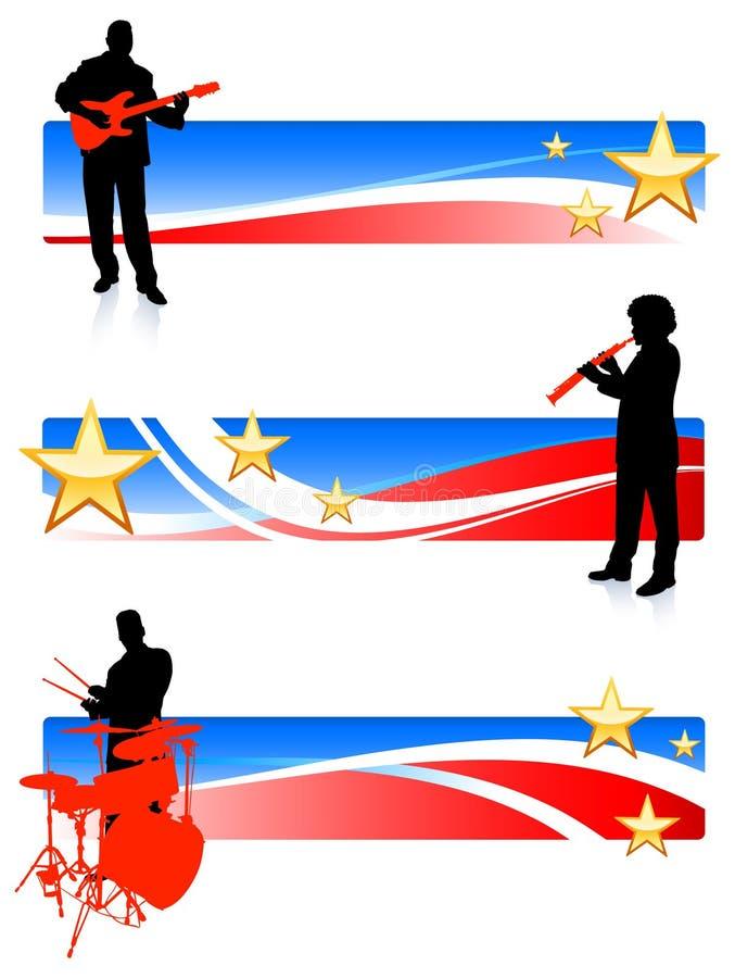 Fascia musicale con le bandiere patriottiche illustrazione vettoriale