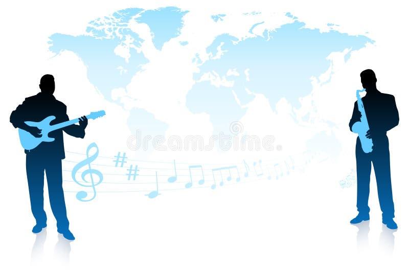 Fascia musicale sulla priorità bassa del mondo illustrazione vettoriale