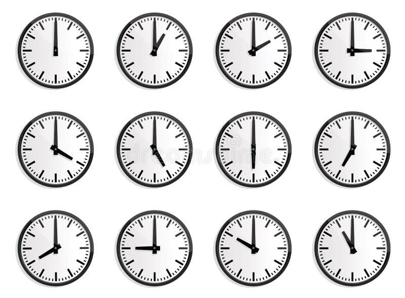 Fascia oraria del mondo, orologio di parete   royalty illustrazione gratis