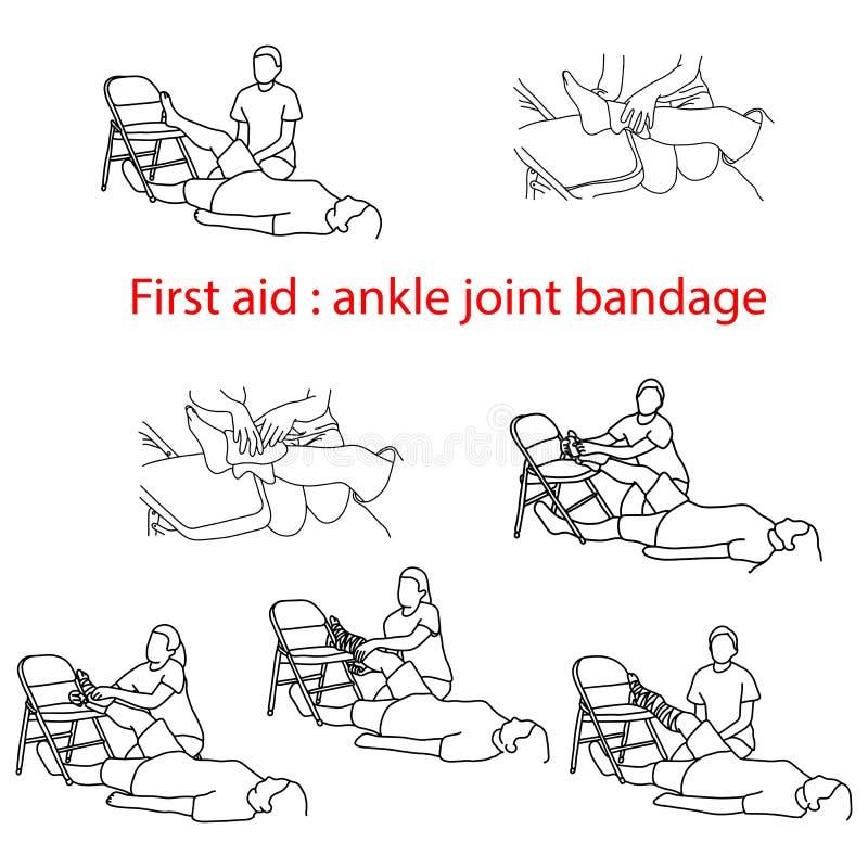 Fasciatura del pronto soccorso nel caso della lesione del vettore IL dell'articolazione della caviglia illustrazione vettoriale