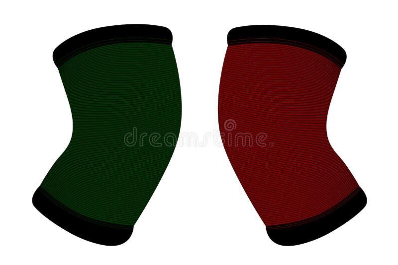 Fasciatura elastica sul ginocchio in illustrazione di stock