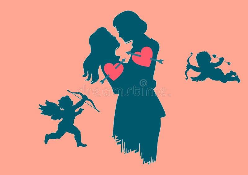 Fascinado, silhueta, e tiros dos cupidos eles na ilustração dos corações ilustração royalty free